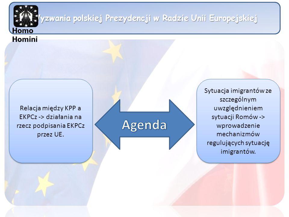 Wyzwania polskiej Prezydencji w Radzie Unii Europejskiej Sytuacja Romów UE Złe warunki mieszkaniowe Ofiary przestępstw Dyskryminacja w życiu codziennym Przeprowadzka do innego państwa członkowskiego UE Edukacja i możliwości zatrudnienia Homo Homini