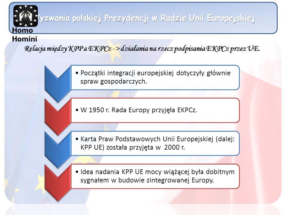 Wyzwania polskiej Prezydencji w Radzie Unii Europejskiej Początki integracji europejskiej dotyczyły głównie spraw gospodarczych. W 1950 r. Rada Europy