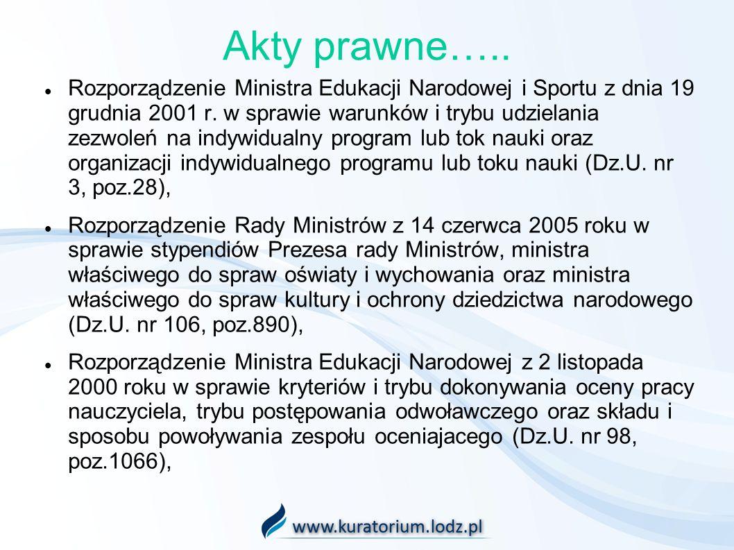 Akty prawne….. Rozporządzenie Ministra Edukacji Narodowej i Sportu z dnia 19 grudnia 2001 r. w sprawie warunków i trybu udzielania zezwoleń na indywid