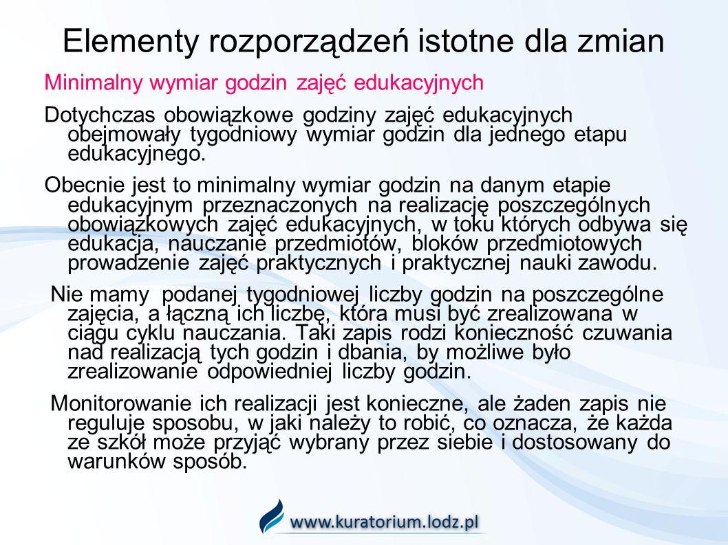 Elementy rozporządzeń istotne dla zmian Minimalny wymiar godzin zajęć edukacyjnych Dotychczas obowiązkowe godziny zajęć edukacyjnych obejmowały tygodn