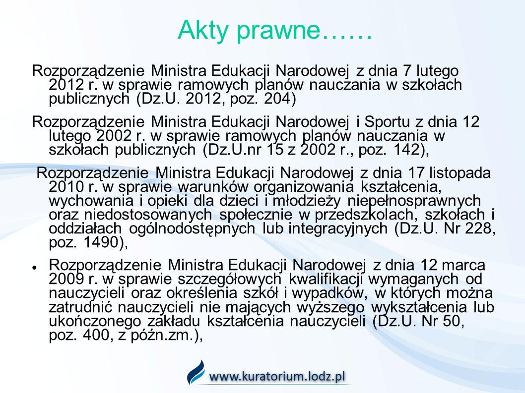 Akty prawne…… Rozporządzenie Ministra Edukacji Narodowej z dnia 7 lutego 2012 r. w sprawie ramowych planów nauczania w szkołach publicznych (Dz.U. 201