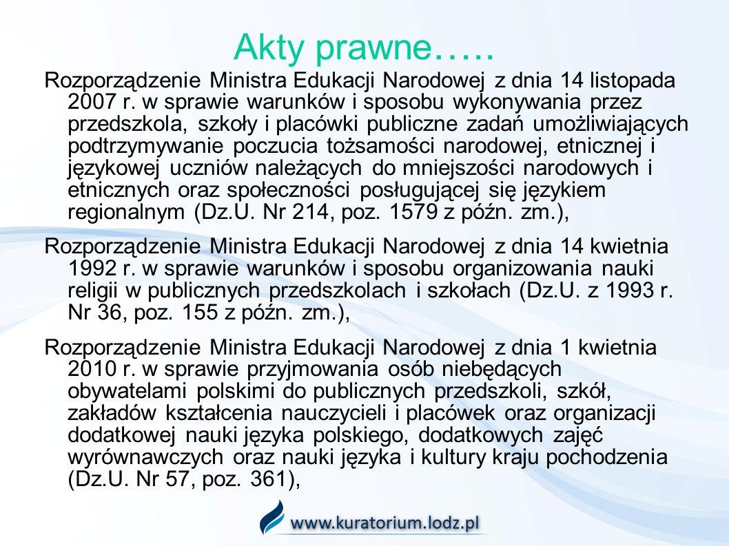 Akty prawne ….. Rozporządzenie Ministra Edukacji Narodowej z dnia 14 listopada 2007 r. w sprawie warunków i sposobu wykonywania przez przedszkola, szk