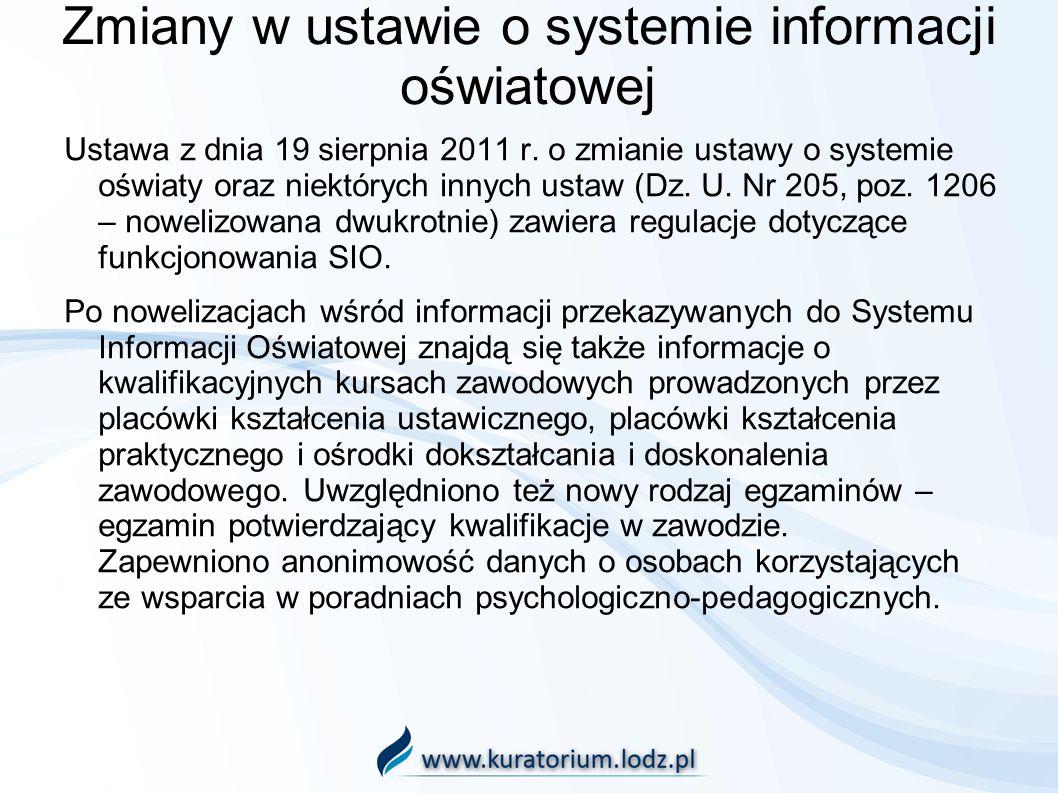 Zmiany w ustawie o systemie informacji oświatowej Ustawa z dnia 19 sierpnia 2011 r. o zmianie ustawy o systemie oświaty oraz niektórych innych ustaw (