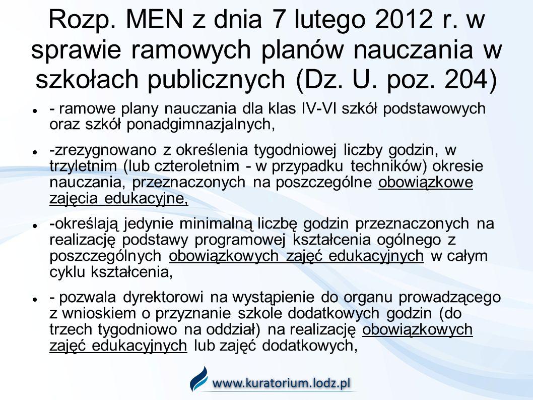 Rozp. MEN z dnia 7 lutego 2012 r. w sprawie ramowych planów nauczania w szkołach publicznych (Dz. U. poz. 204) - ramowe plany nauczania dla klas IV-VI