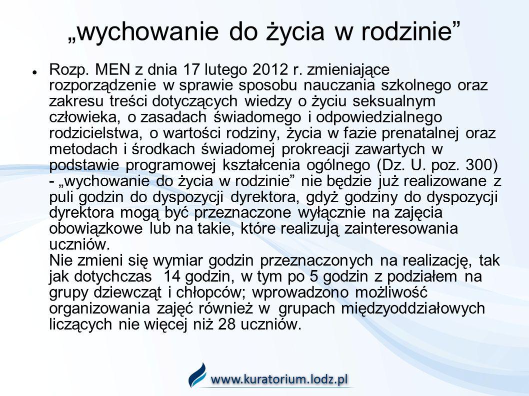 wychowanie do życia w rodzinie Rozp. MEN z dnia 17 lutego 2012 r. zmieniające rozporządzenie w sprawie sposobu nauczania szkolnego oraz zakresu treści