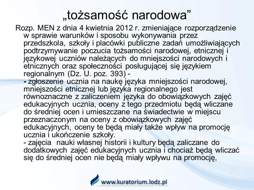 tożsamość narodowa Rozp. MEN z dnia 4 kwietnia 2012 r. zmieniające rozporządzenie w sprawie warunków i sposobu wykonywania przez przedszkola, szkoły i