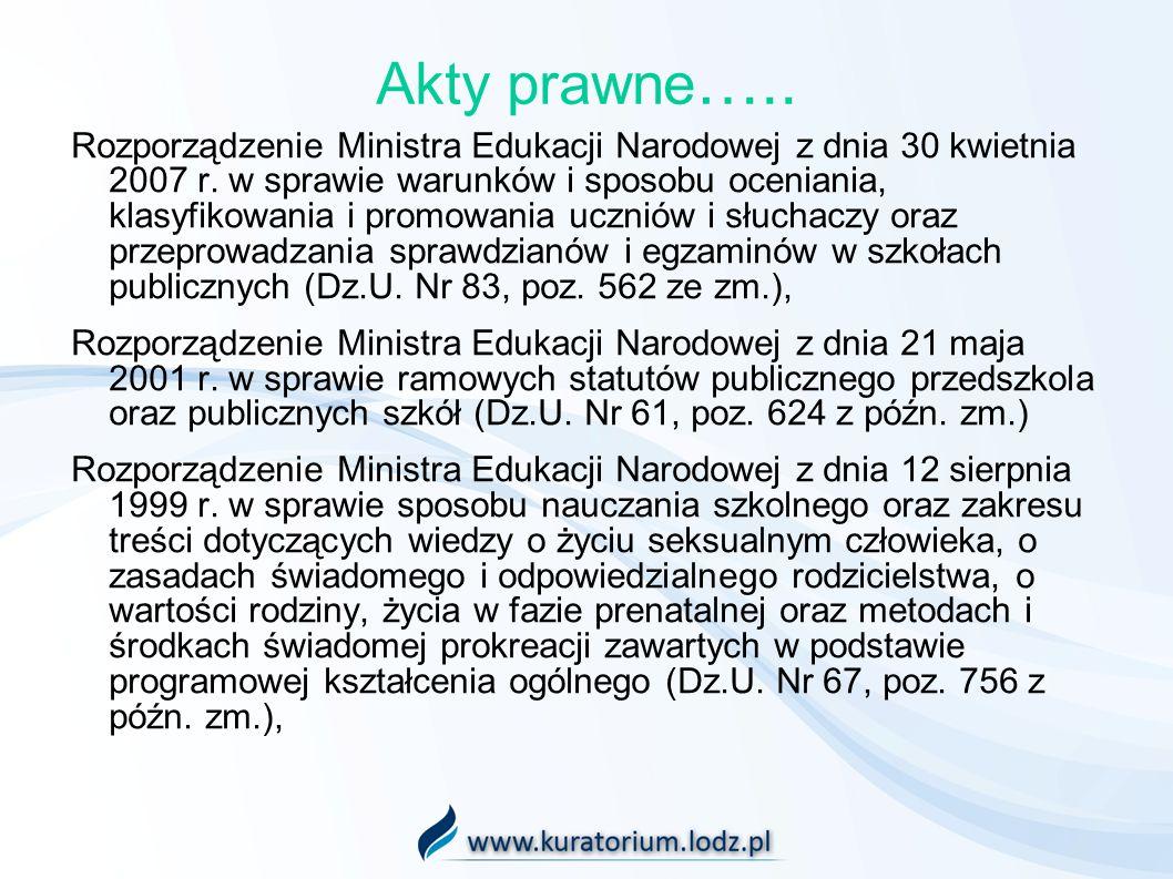 Akty prawne ….. Rozporządzenie Ministra Edukacji Narodowej z dnia 30 kwietnia 2007 r. w sprawie warunków i sposobu oceniania, klasyfikowania i promowa