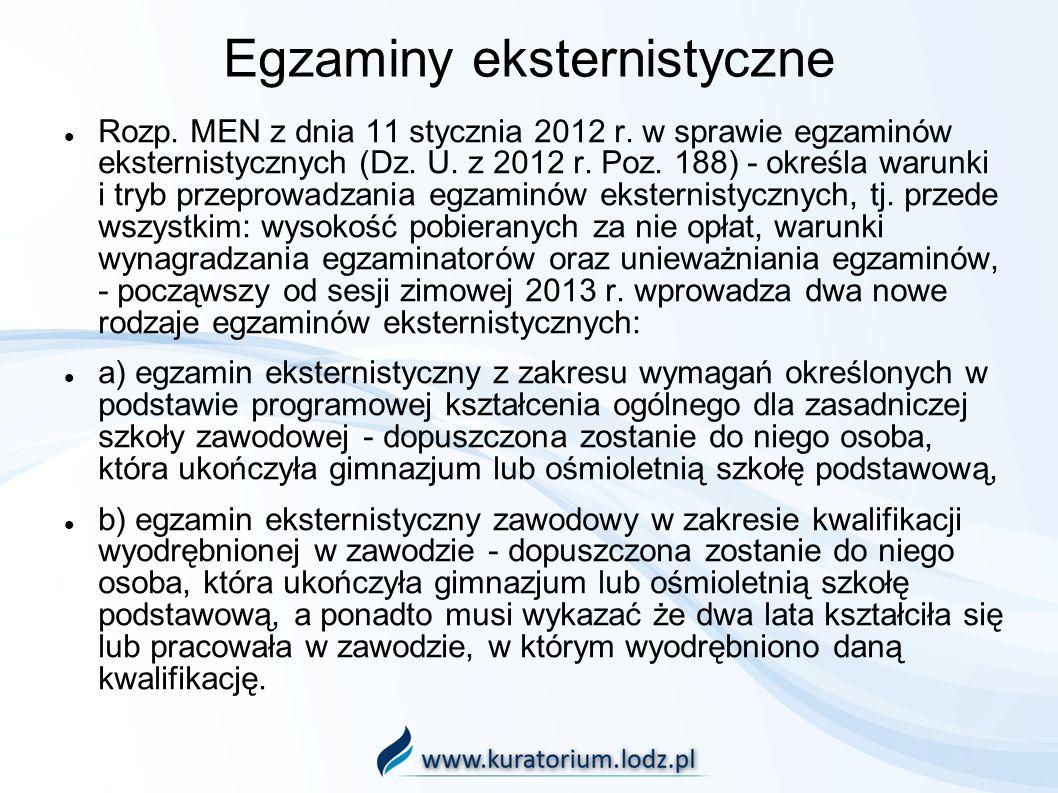 Egzaminy eksternistyczne Rozp. MEN z dnia 11 stycznia 2012 r. w sprawie egzaminów eksternistycznych (Dz. U. z 2012 r. Poz. 188) - określa warunki i tr