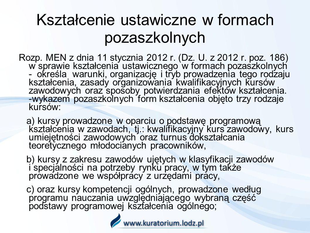 Kształcenie ustawiczne w formach pozaszkolnych Rozp. MEN z dnia 11 stycznia 2012 r. (Dz. U. z 2012 r. poz. 186) w sprawie kształcenia ustawicznego w f