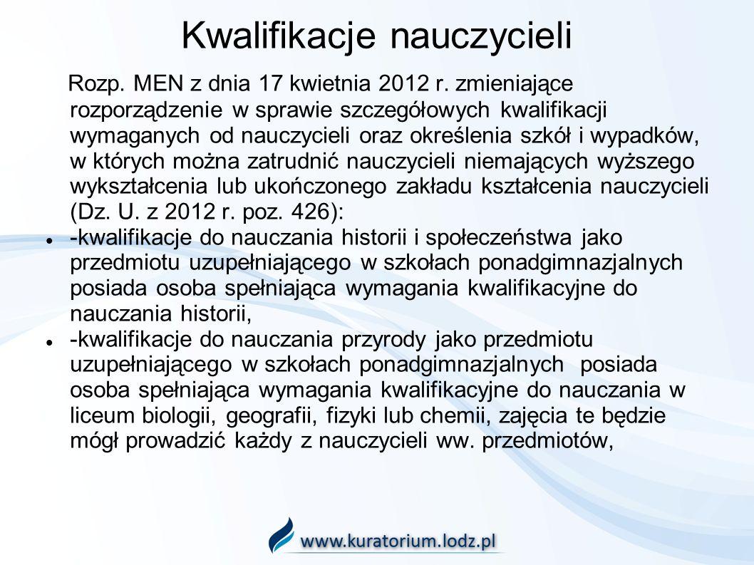 Kwalifikacje nauczycieli Rozp. MEN z dnia 17 kwietnia 2012 r. zmieniające rozporządzenie w sprawie szczegółowych kwalifikacji wymaganych od nauczyciel
