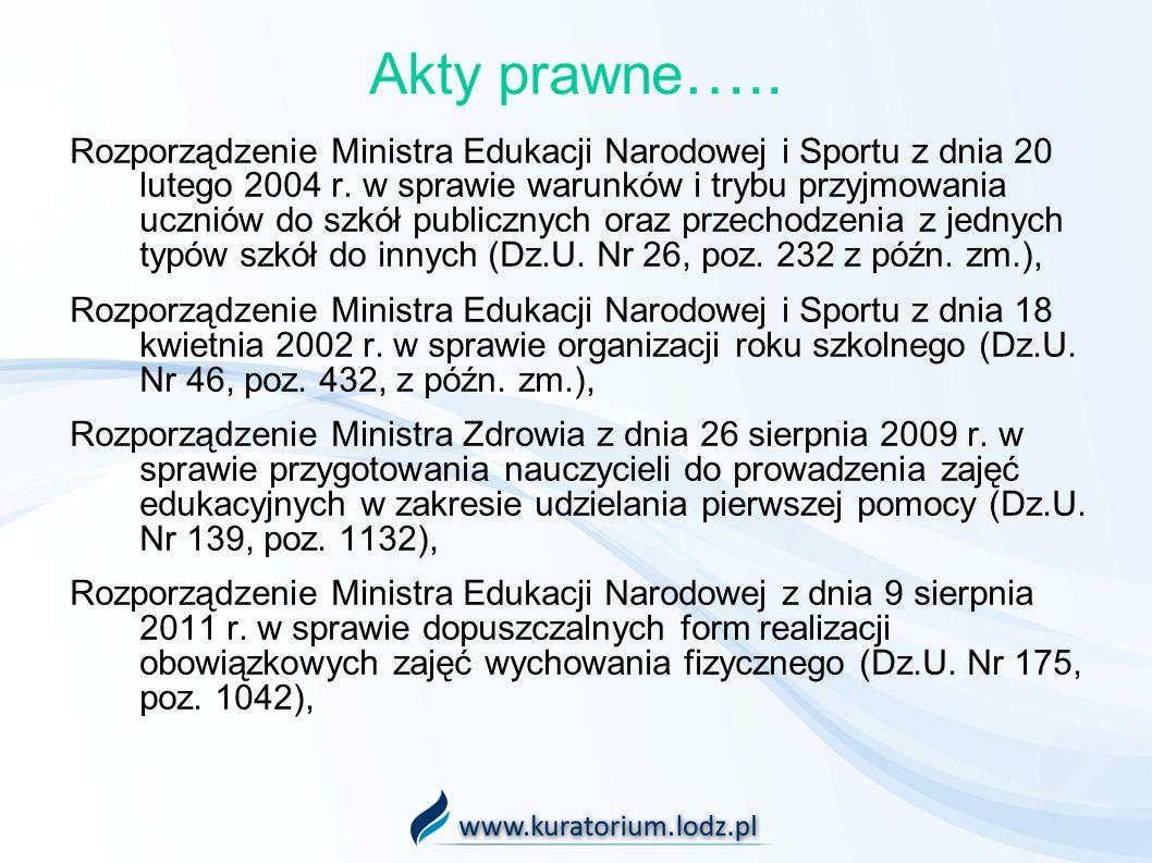 Akty prawne ….. Rozporządzenie Ministra Edukacji Narodowej i Sportu z dnia 20 lutego 2004 r. w sprawie warunków i trybu przyjmowania uczniów do szkół
