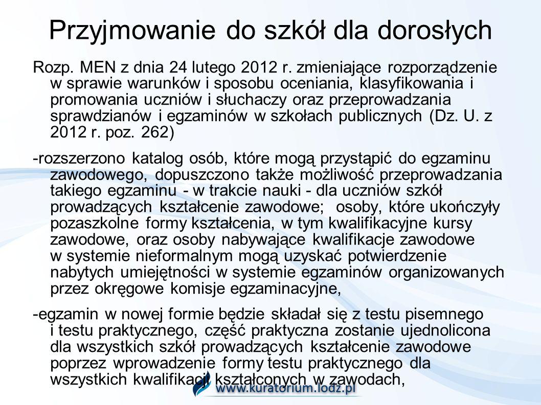 Przyjmowanie do szkół dla dorosłych Rozp. MEN z dnia 24 lutego 2012 r. zmieniające rozporządzenie w sprawie warunków i sposobu oceniania, klasyfikowan