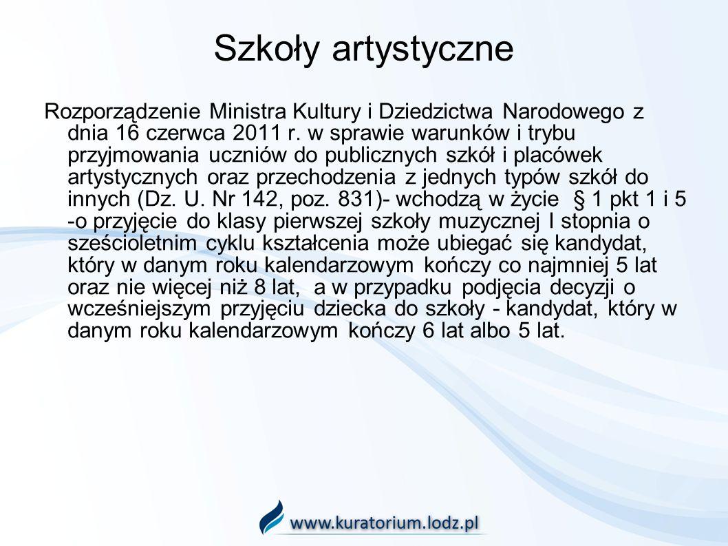 Szkoły artystyczne Rozporządzenie Ministra Kultury i Dziedzictwa Narodowego z dnia 16 czerwca 2011 r. w sprawie warunków i trybu przyjmowania uczniów