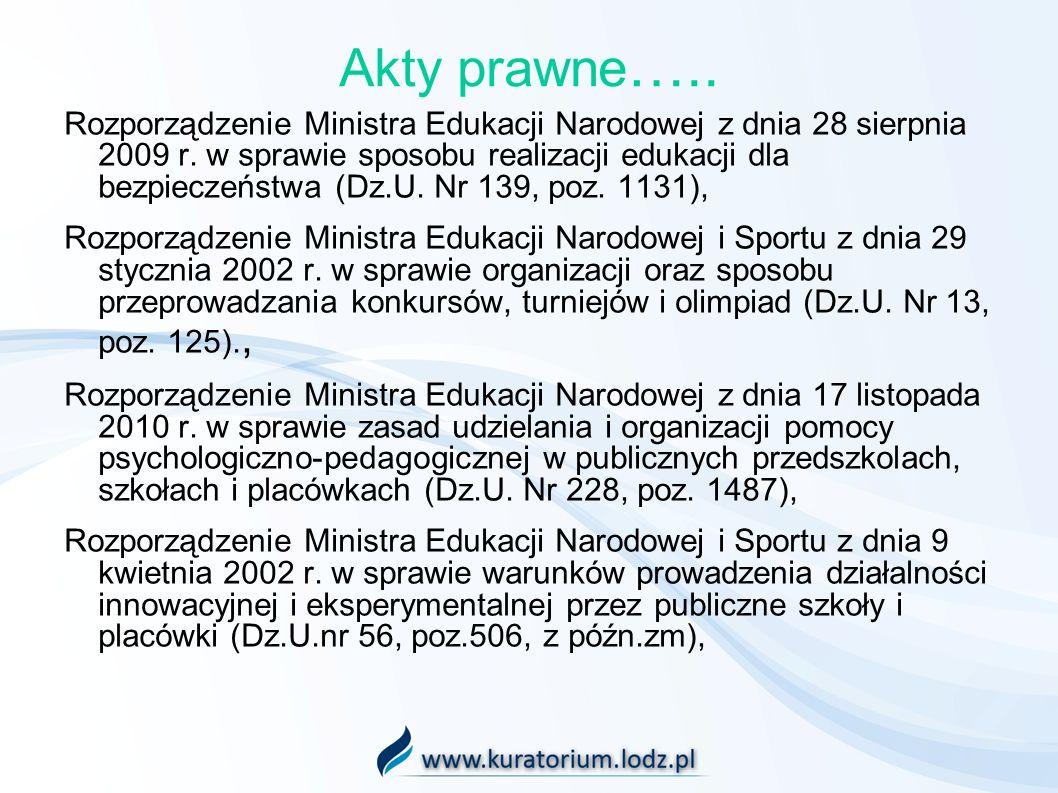 Akty prawne ….. Rozporządzenie Ministra Edukacji Narodowej z dnia 28 sierpnia 2009 r. w sprawie sposobu realizacji edukacji dla bezpieczeństwa (Dz.U.