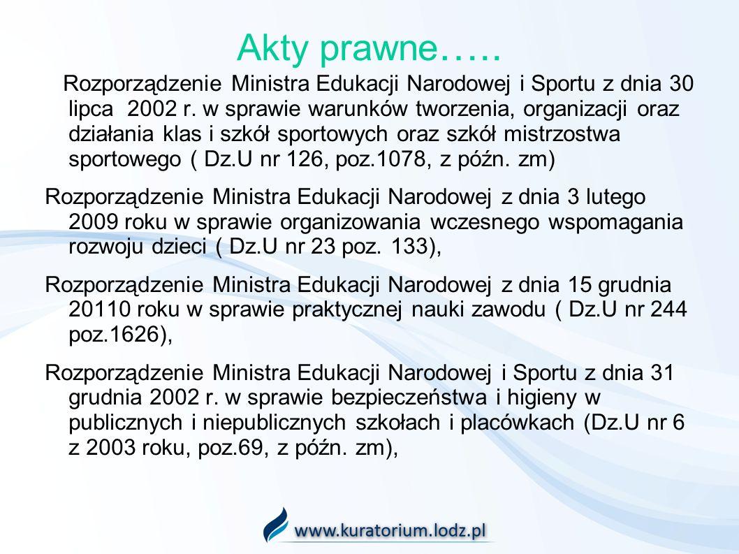 Akty prawne ….. Rozporządzenie Ministra Edukacji Narodowej i Sportu z dnia 30 lipca 2002 r. w sprawie warunków tworzenia, organizacji oraz działania k