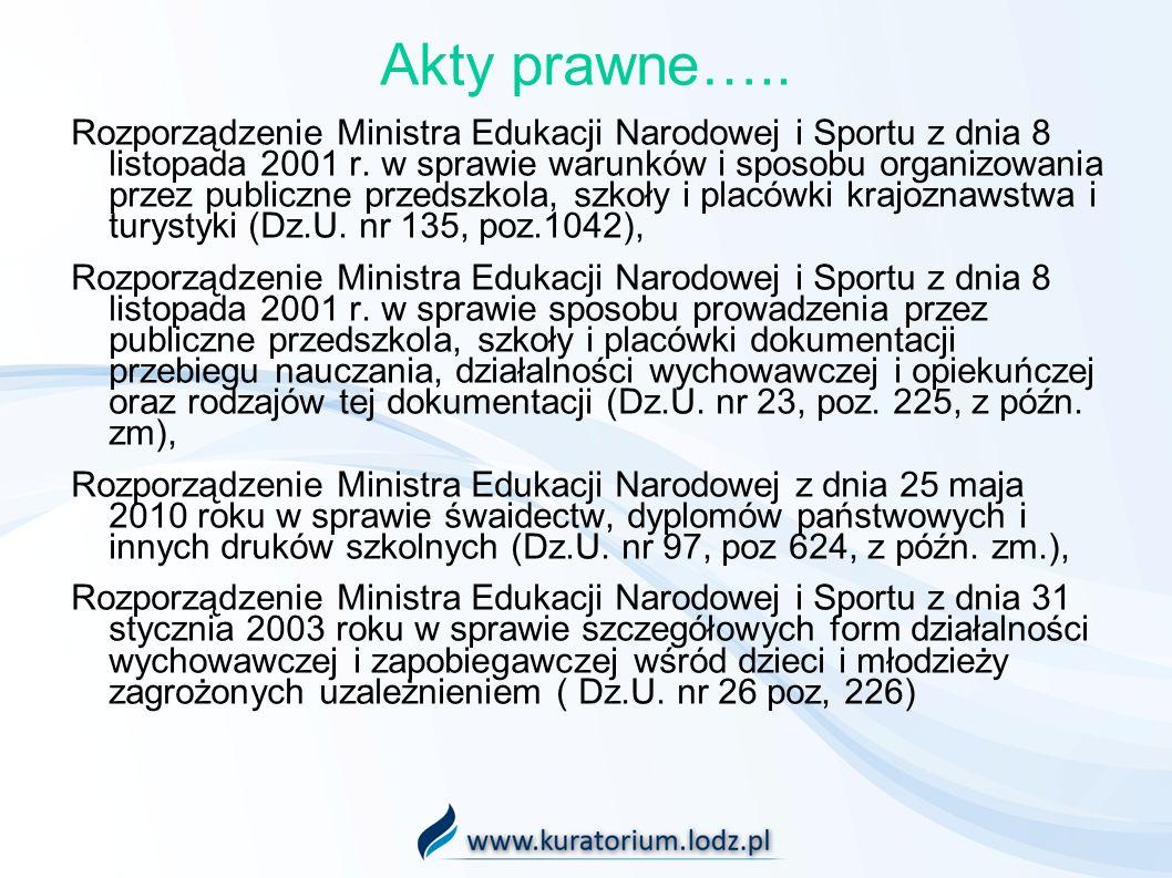Akty prawne….. Rozporządzenie Ministra Edukacji Narodowej i Sportu z dnia 8 listopada 2001 r. w sprawie warunków i sposobu organizowania przez publicz