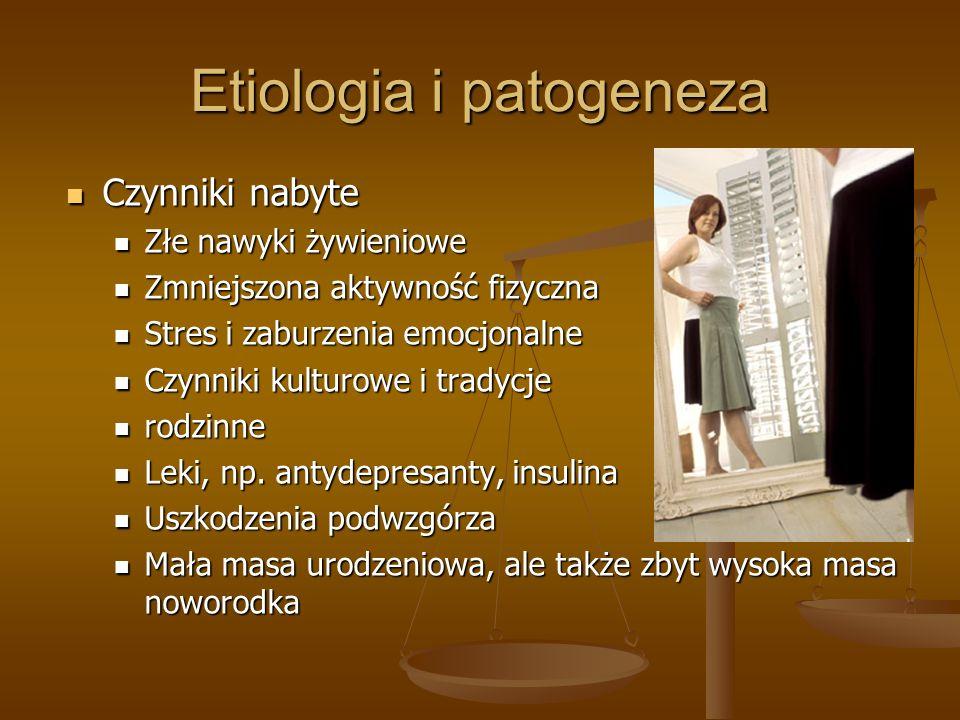 Etiologia i patogeneza Czynniki nabyte Czynniki nabyte Złe nawyki żywieniowe Złe nawyki żywieniowe Zmniejszona aktywność fizyczna Zmniejszona aktywnoś