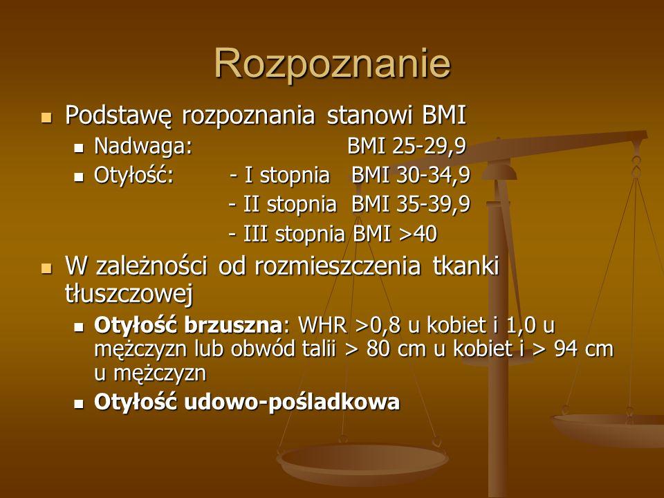 Rozpoznanie Podstawę rozpoznania stanowi BMI Podstawę rozpoznania stanowi BMI Nadwaga: BMI 25-29,9 Nadwaga: BMI 25-29,9 Otyłość: - I stopnia BMI 30-34