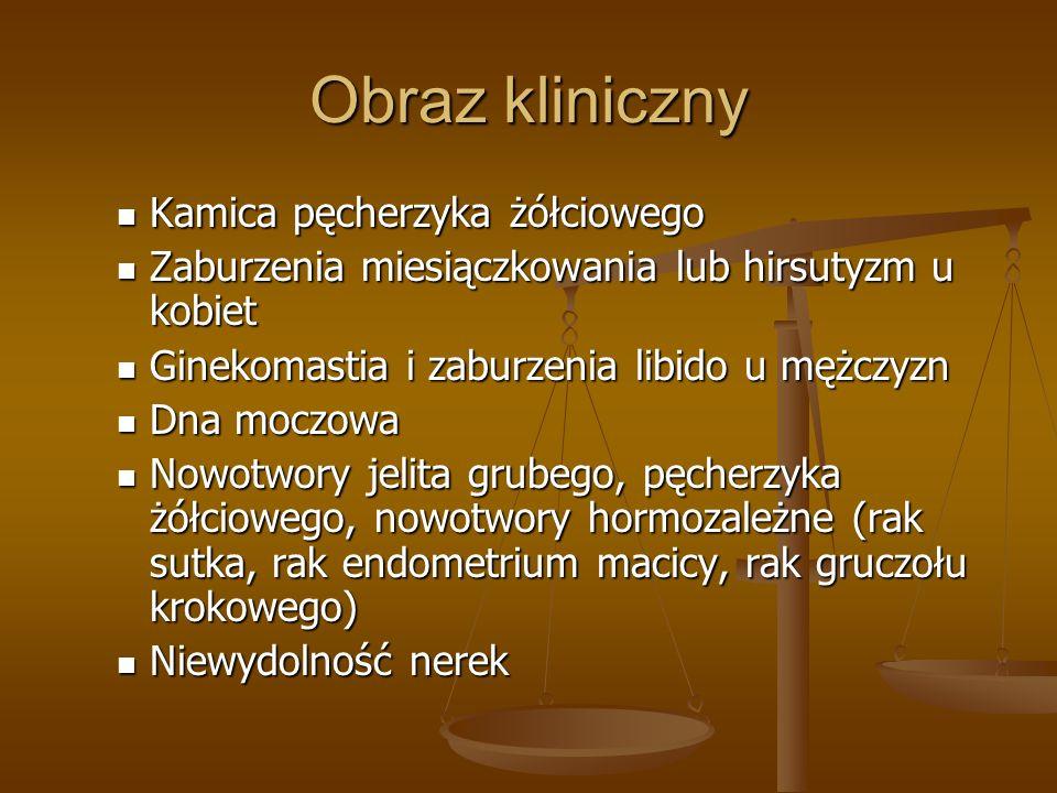Obraz kliniczny Kamica pęcherzyka żółciowego Kamica pęcherzyka żółciowego Zaburzenia miesiączkowania lub hirsutyzm u kobiet Zaburzenia miesiączkowania