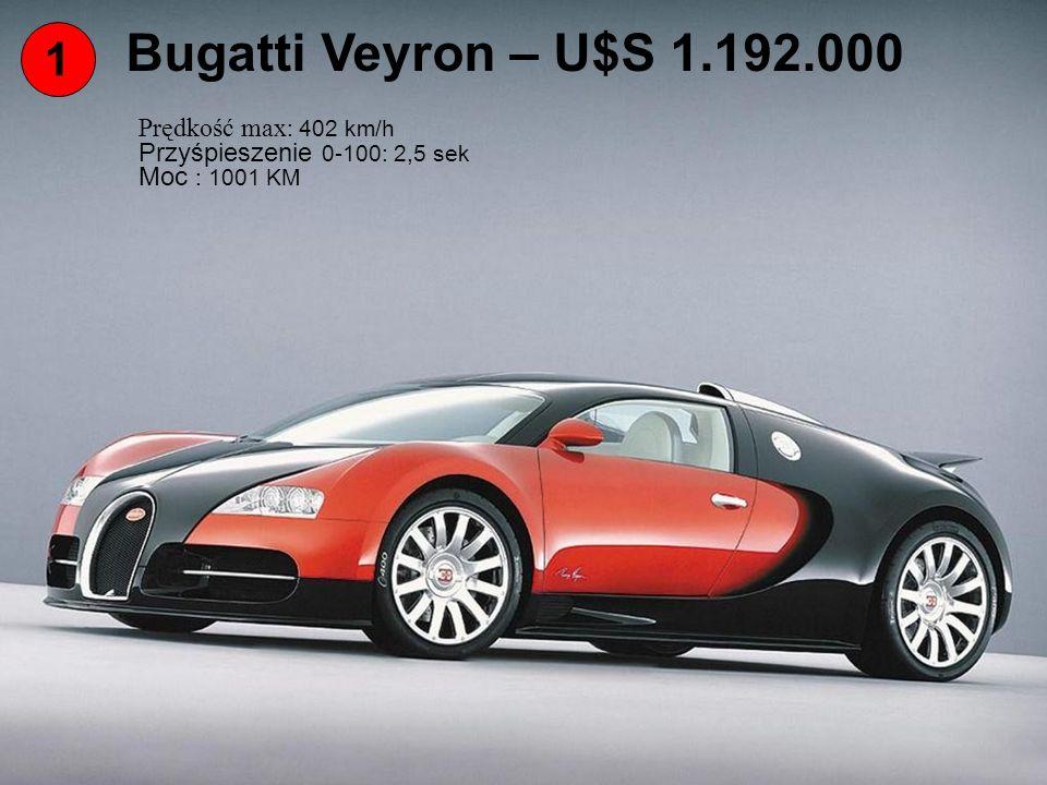 1 Bugatti Veyron – U$S 1.192.000 Prędkość max : 402 km/h Przyśpieszenie 0-100: 2,5 sek Moc : 1001 KM