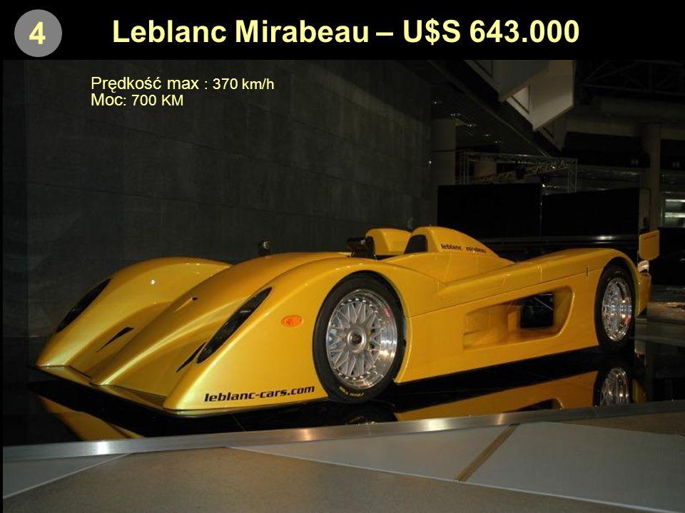 3 SSC Ultimate Aero – U$S 654.500 Prędkość max : 420 km/h (estymowana) Moc : 1046 KM
