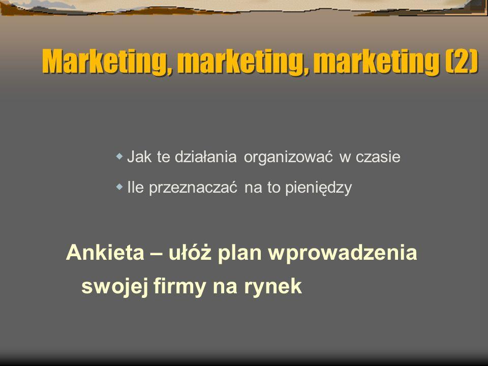 Marketing, marketing, marketing (2) Jak te działania organizować w czasie Ile przeznaczać na to pieniędzy Ankieta – ułóż plan wprowadzenia swojej firmy na rynek