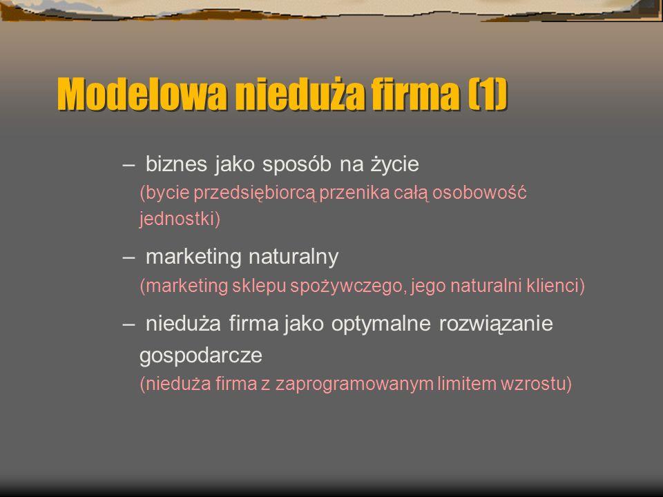 Modelowa nieduża firma (1) – biznes jako sposób na życie (bycie przedsiębiorcą przenika całą osobowość jednostki) – marketing naturalny (marketing sklepu spożywczego, jego naturalni klienci) – nieduża firma jako optymalne rozwiązanie gospodarcze (nieduża firma z zaprogramowanym limitem wzrostu)