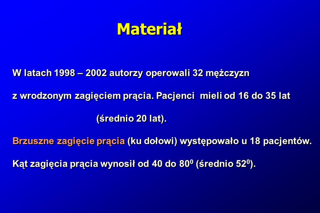 W latach 1998 – 2002 autorzy operowali 32 mężczyzn z wrodzonym zagięciem prącia. Pacjenci mieli od 16 do 35 lat (średnio 20 lat). Brzuszne zagięcie pr