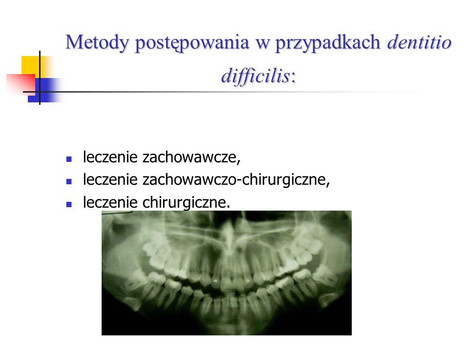 Metody postępowania w przypadkach dentitio difficilis: leczenie zachowawcze, leczenie zachowawczo-chirurgiczne, leczenie chirurgiczne.