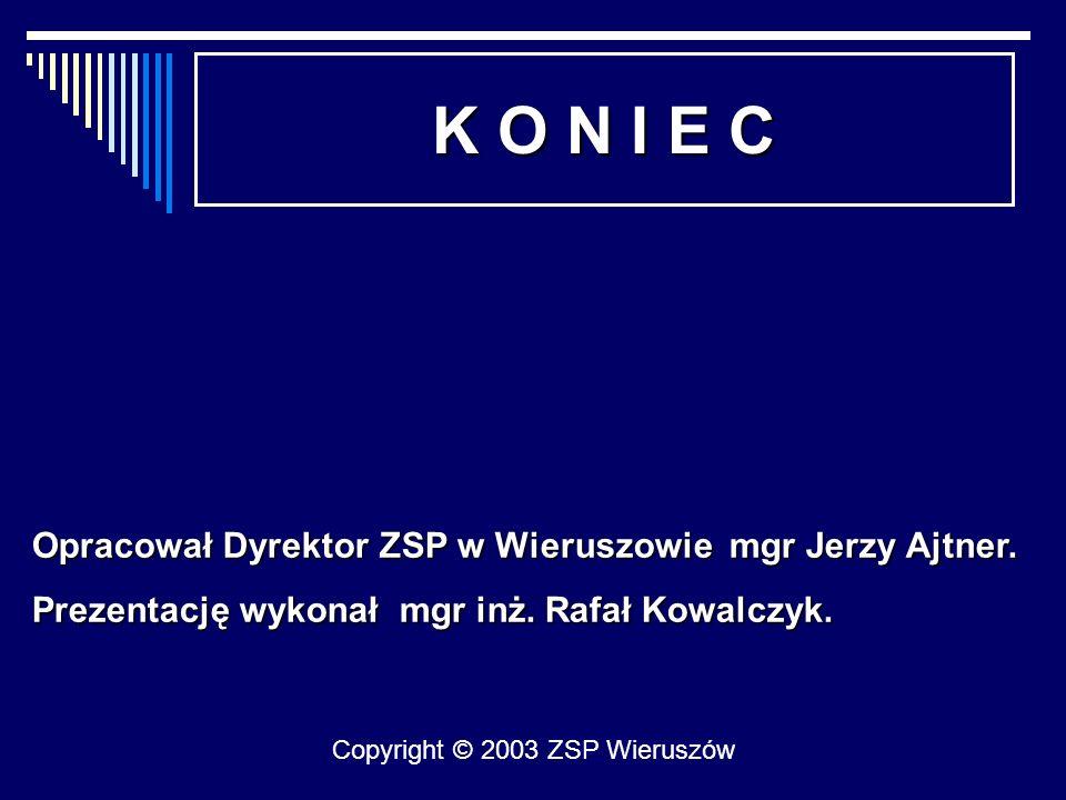 K O N I E C Opracował Dyrektor ZSP w Wieruszowie mgr Jerzy Ajtner.