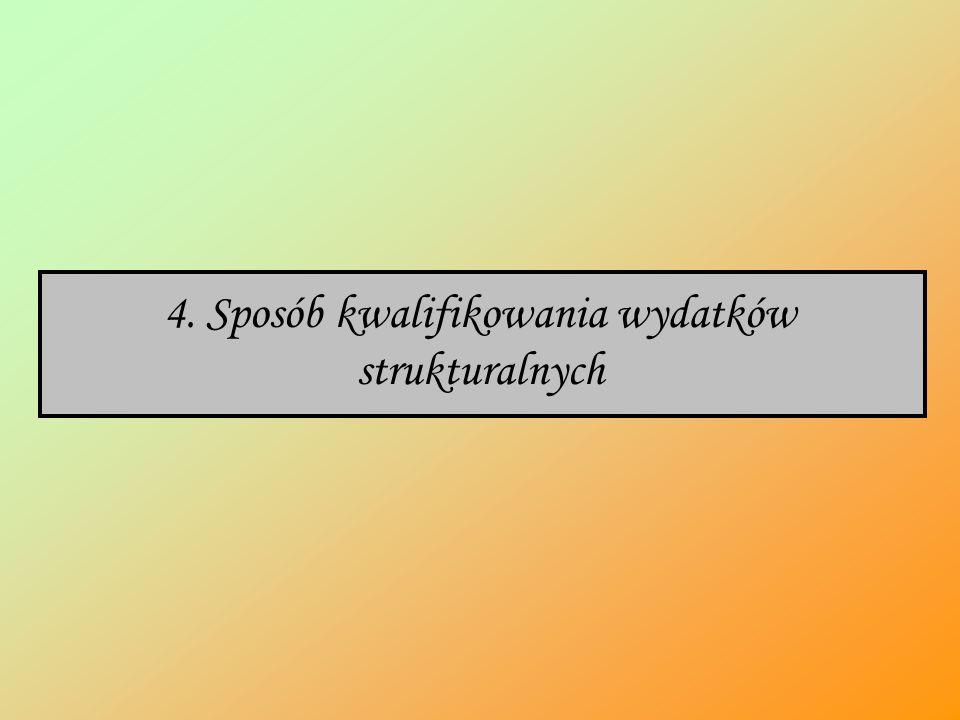 4. Sposób kwalifikowania wydatków strukturalnych