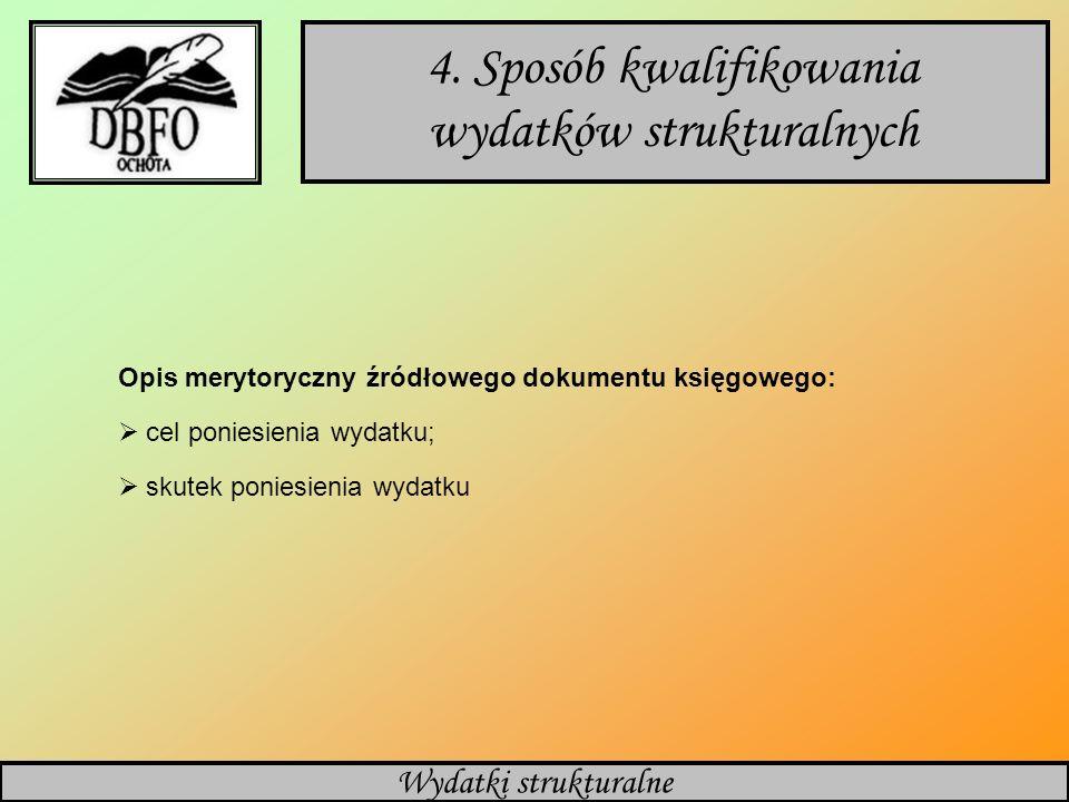 Polityka rachunkowości 4. Sposób kwalifikowania wydatków strukturalnych Opis merytoryczny źródłowego dokumentu księgowego: cel poniesienia wydatku; sk