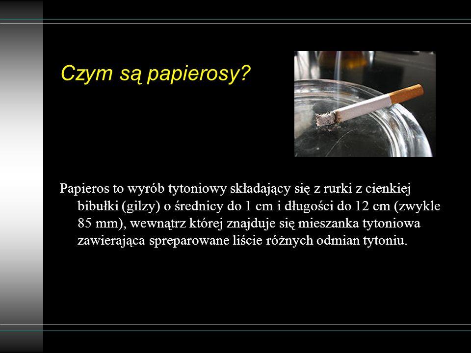 Czym są papierosy? Papieros to wyrób tytoniowy składający się z rurki z cienkiej bibułki (gilzy) o średnicy do 1 cm i długości do 12 cm (zwykle 85 mm)