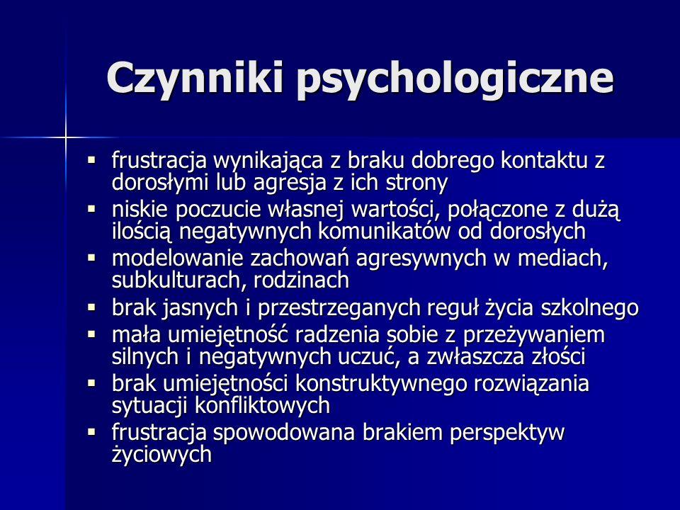 Czynniki psychologiczne frustracja wynikająca z braku dobrego kontaktu z dorosłymi lub agresja z ich strony frustracja wynikająca z braku dobrego kont