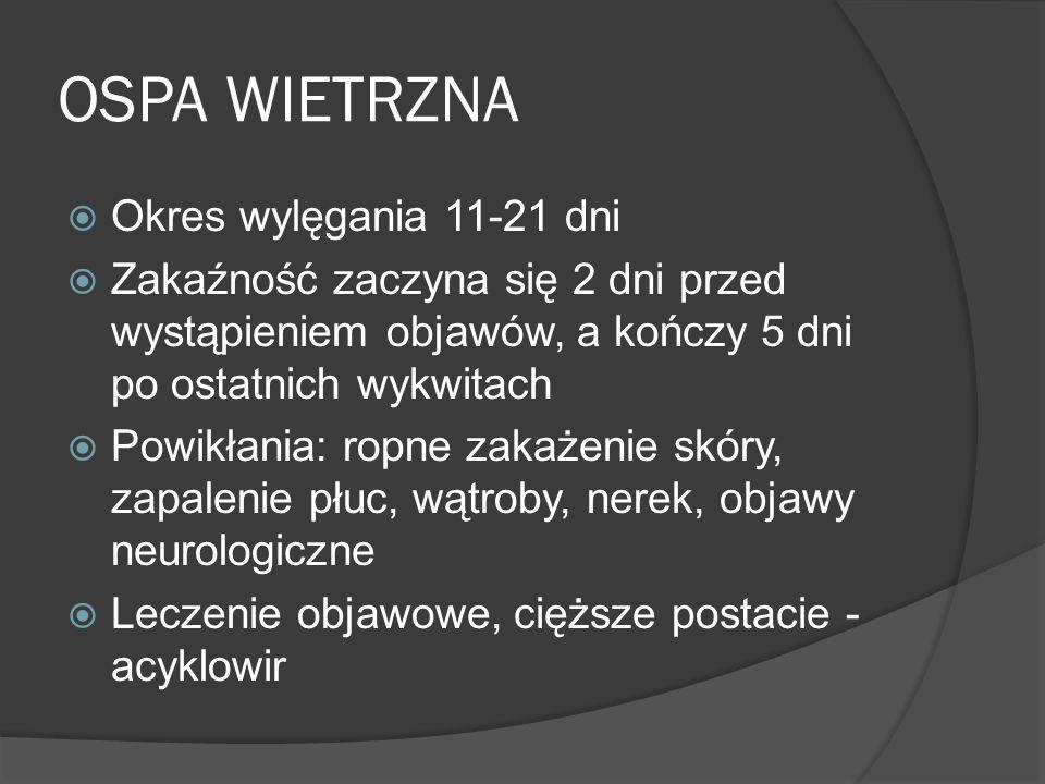 OSPA WIETRZNA Okres wylęgania 11-21 dni Zakaźność zaczyna się 2 dni przed wystąpieniem objawów, a kończy 5 dni po ostatnich wykwitach Powikłania: ropn