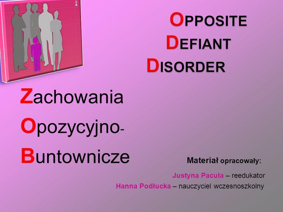 Z achowania O pozycyjno - B untownicze Materiał opracowały: Justyna Pacuła – reedukator Hanna Podłucka – nauczyciel wczesnoszkolny