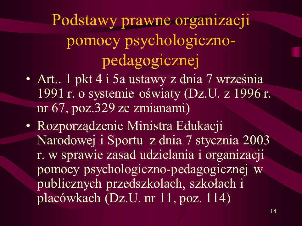 14 Podstawy prawne organizacji pomocy psychologiczno- pedagogicznej Art..