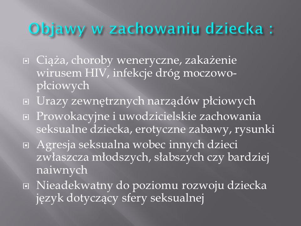Ciąża, choroby weneryczne, zakażenie wirusem HIV, infekcje dróg moczowo- płciowych Urazy zewnętrznych narządów płciowych Prowokacyjne i uwodzicielskie zachowania seksualne dziecka, erotyczne zabawy, rysunki Agresja seksualna wobec innych dzieci zwłaszcza młodszych, słabszych czy bardziej naiwnych Nieadekwatny do poziomu rozwoju dziecka język dotyczący sfery seksualnej