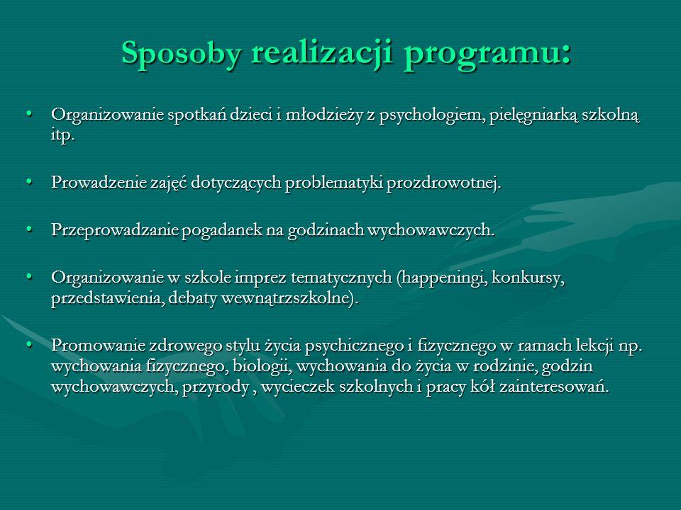 Sposoby realizacji programu : Organizowanie spotkań dzieci i młodzieży z psychologiem, pielęgniarką szkolną itp.Organizowanie spotkań dzieci i młodzie