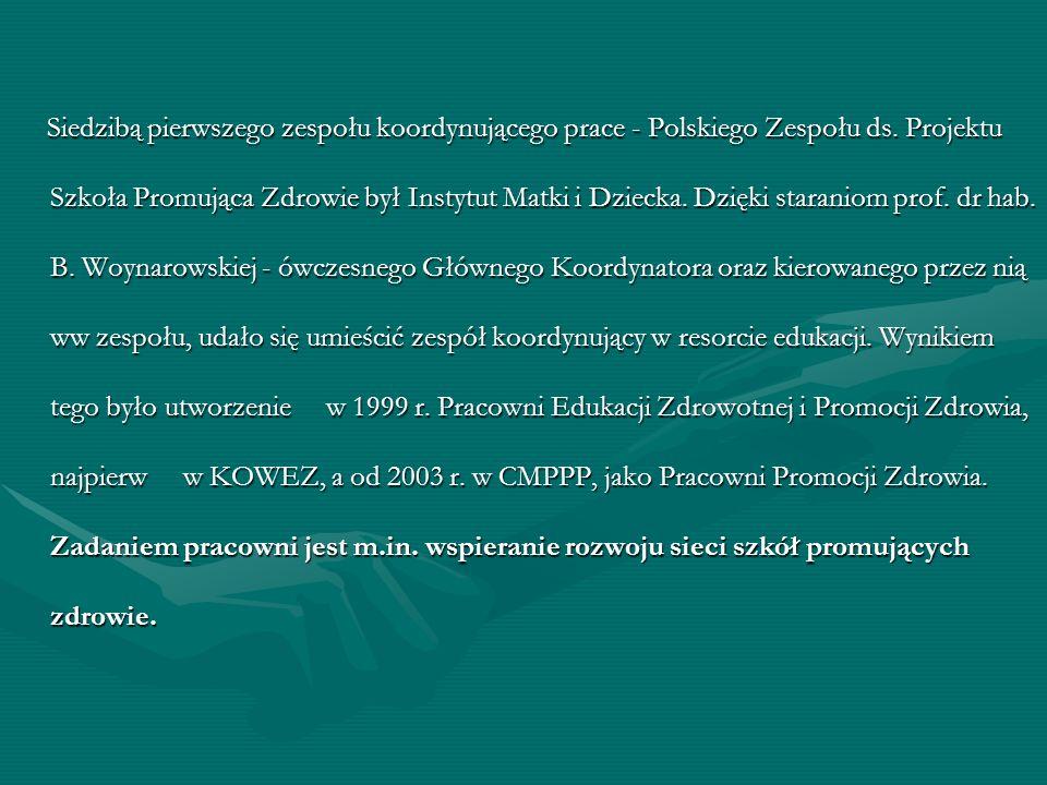 Siedzibą pierwszego zespołu koordynującego prace - Polskiego Zespołu ds. Projektu Szkoła Promująca Zdrowie był Instytut Matki i Dziecka. Dzięki staran