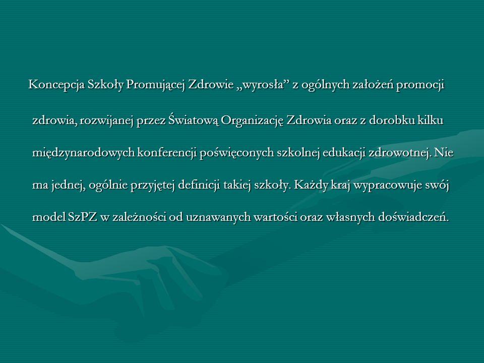Przyjęto, ze SzPZ ma trzy główne cechy : 1.Edukacja zdrowotna jako nieodłączny element programu nauczania.