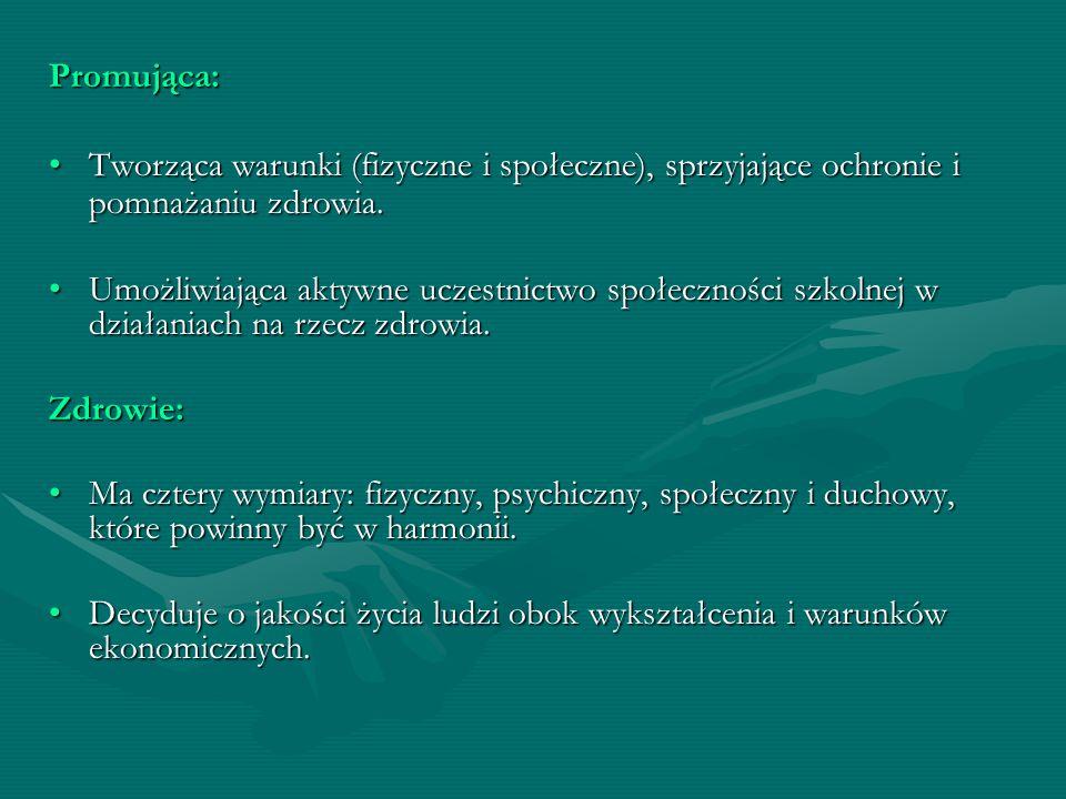 Promująca: Tworząca warunki (fizyczne i społeczne), sprzyjające ochronie i pomnażaniu zdrowia.Tworząca warunki (fizyczne i społeczne), sprzyjające och