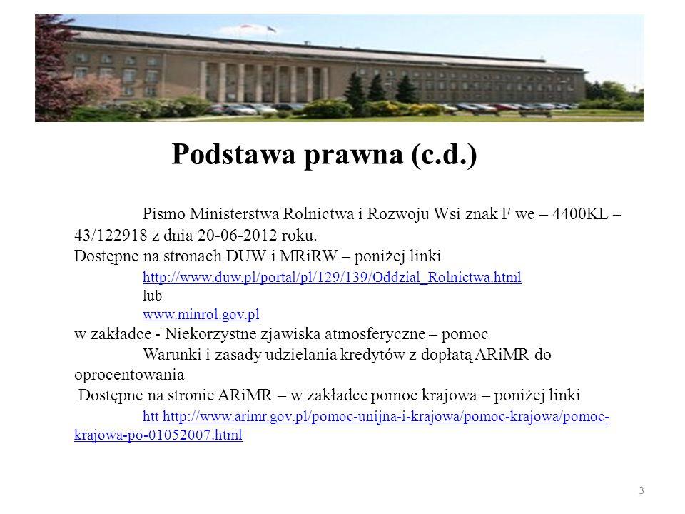 Pismo Ministerstwa Rolnictwa i Rozwoju Wsi znak F we – 4400KL – 43/122918 z dnia 20-06-2012 roku. Dostępne na stronach DUW i MRiRW – poniżej linki htt