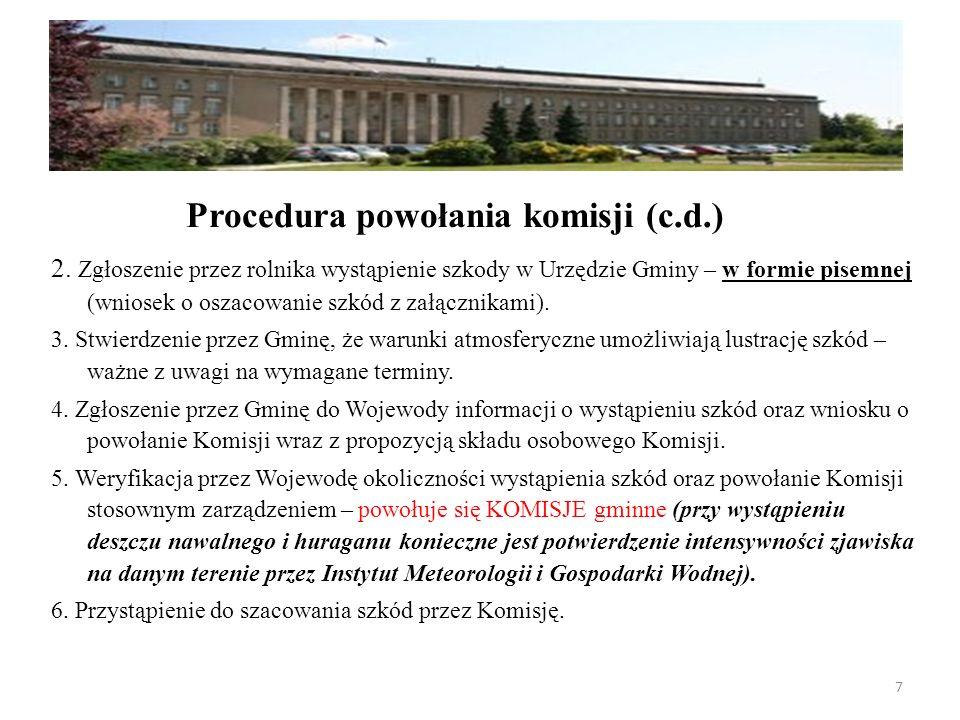 2. Zgłoszenie przez rolnika wystąpienie szkody w Urzędzie Gminy – w formie pisemnej (wniosek o oszacowanie szkód z załącznikami). 3. Stwierdzenie prze