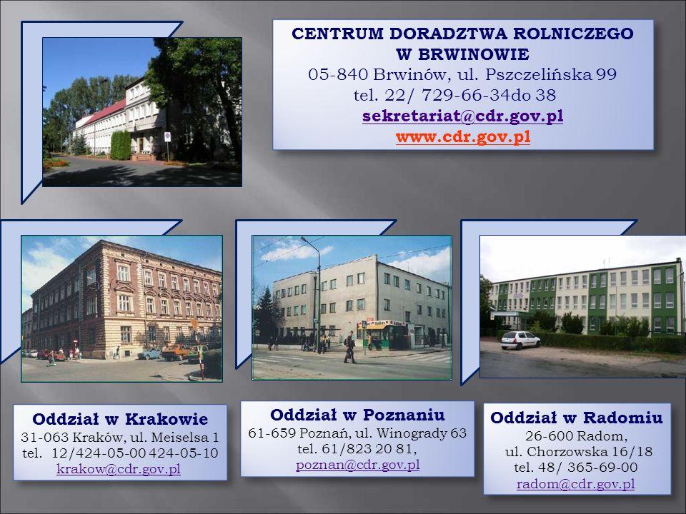 CENTRUM DORADZTWA ROLNICZEGO W BRWINOWIE 05-840 Brwinów, ul. Pszczelińska 99 tel. 22/ 729-66-34do 38 sekretariat@cdr.gov.pl sekretariat@cdr.gov.pl www