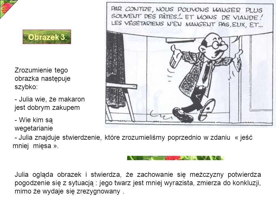 Obrazek 3: Zrozumienie tego obrazka następuje szybko: - Julia wie, że makaron jest dobrym zakupem - Wie kim są wegetarianie - Julia znajduje stwierdzenie, które zrozumieliśmy poprzednio w zdaniu « jeść mniej mięsa ».