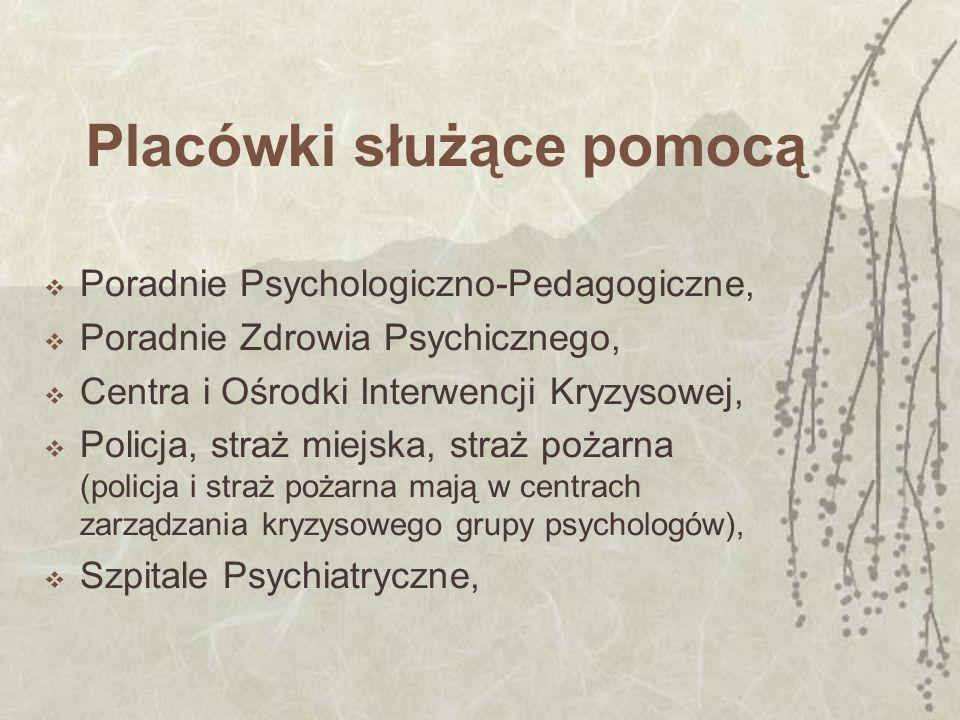 Placówki służące pomocą Poradnie Psychologiczno-Pedagogiczne, Poradnie Zdrowia Psychicznego, Centra i Ośrodki Interwencji Kryzysowej, Policja, straż m
