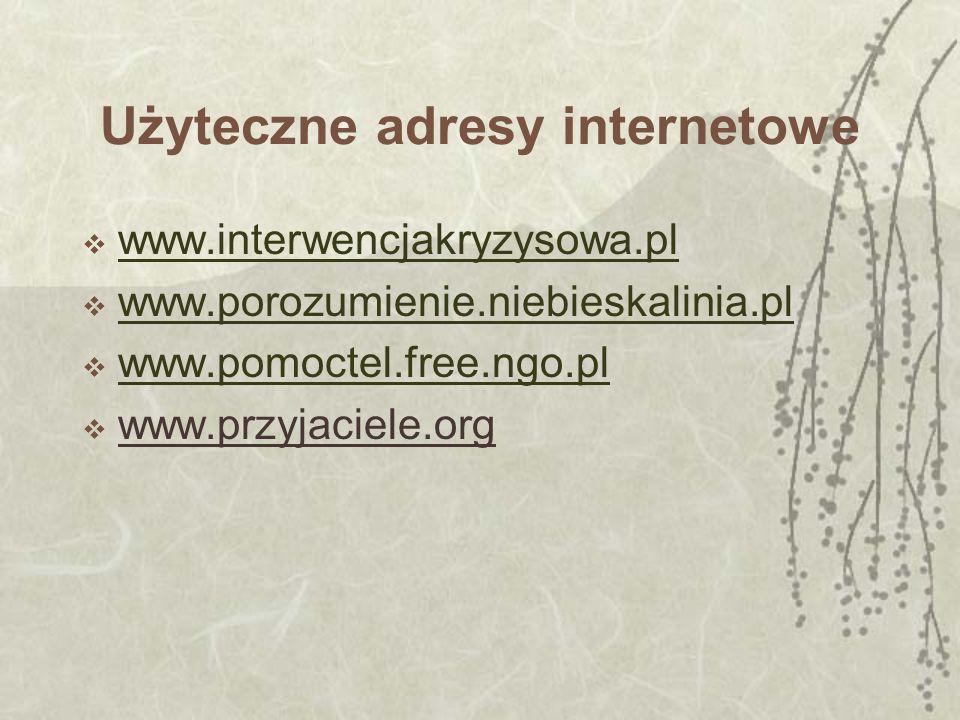 Użyteczne adresy internetowe www.interwencjakryzysowa.pl www.porozumienie.niebieskalinia.pl www.pomoctel.free.ngo.pl www.przyjaciele.org