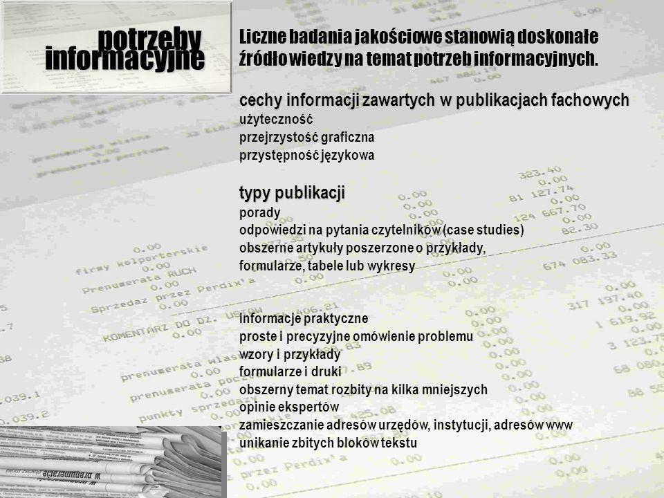 potrzeby Liczne badania jakościowe stanowią doskonałe źródło wiedzy na temat potrzeb informacyjnych.