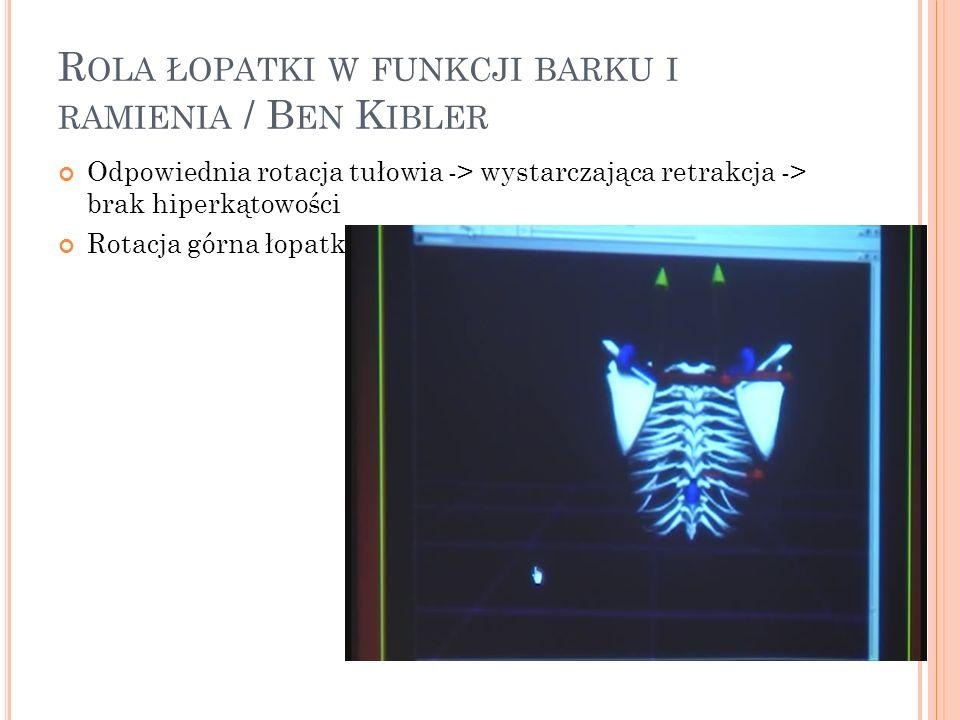 R OLA ŁOPATKI W FUNKCJI BARKU I RAMIENIA / B EN K IBLER Odpowiednia rotacja tułowia -> wystarczająca retrakcja -> brak hiperkątowości Rotacja górna ło
